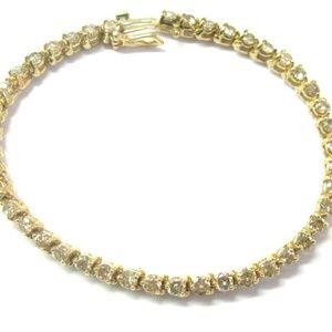 Jewelry - Round Diamond Tennis Bracelet Three Prong 14Kt Yel